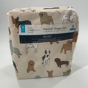 Like new Mainstays flannel dog print cotton sheets